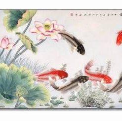 Tablou Feng Shui cu flori de lotus si pesti