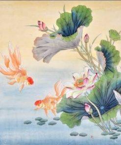 Tablou Feng Shui cu flori de lotus si pereche de pesti aurii