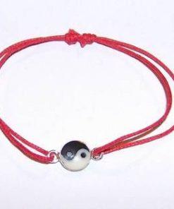 Bratara rosie reglabila cu simbolul Yin-Yang din argint
