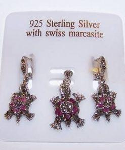 Set din argint cu rubin marcasite - Broasca Testoasa
