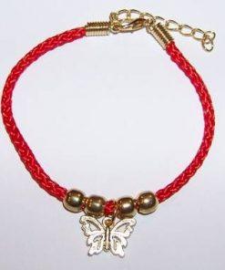 Bratara Feng Shui rosie cu Fluturele Eliberarii auriu