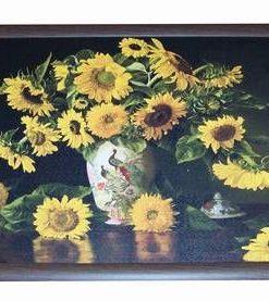 Tablou Feng Shui cu floarea soarelui  si pauni- XXL
