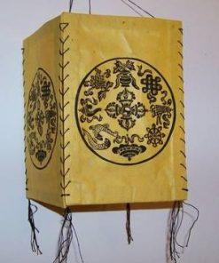 Lampadar Feng Shui de culoare galbena cu 8 simboluri