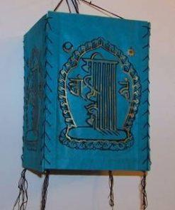 Lampadar Feng Shui de culoare albastra cu Kalachakra