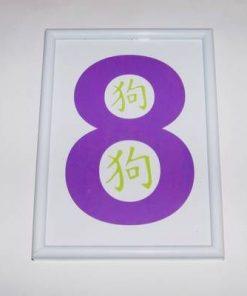 Tablou Feng Shui cu cifra opt si ideograma Cainelui