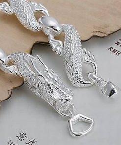 Bratara placata cu argint cu cifra 8 si Dragon