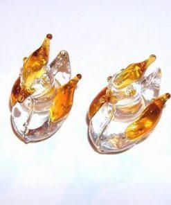 Pereche de rate mandarine cu aripioare portocalii