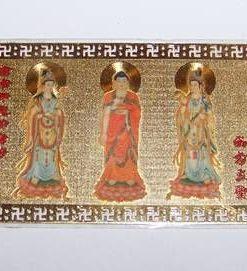 Mantra aurie din metal cu cele 3 ipostaze ale lui Kuan Yin