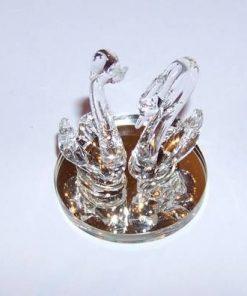 Pereche de lebede din cristal, pe suport oglinda