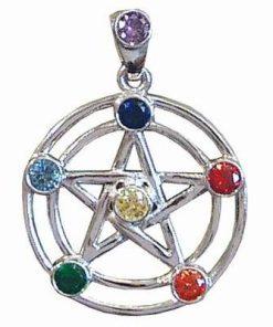 Pentagrama din alama argintata cu 7 cristale