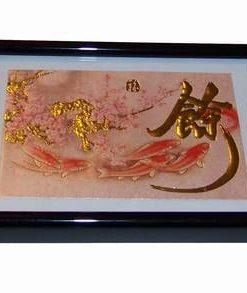 Tablou Feng Shui cu ideograma norocoasa si crapii abundentei