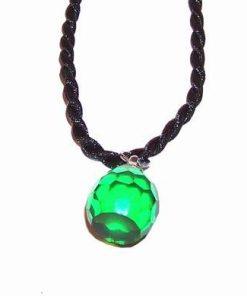 Pandantiv cu piatra dorintei verde, multifatetata