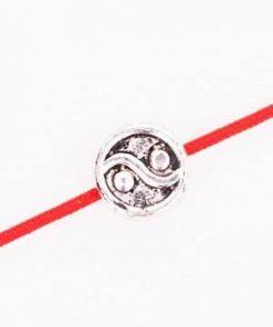 Bratara pe siret rosu reglabil cu Yin-Yang din metal