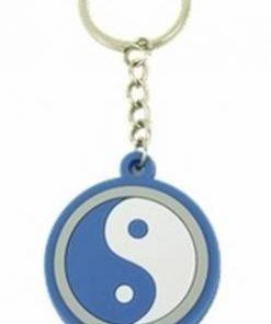 Breloc Feng Shui cu Yin-Yang din silicon - albastru
