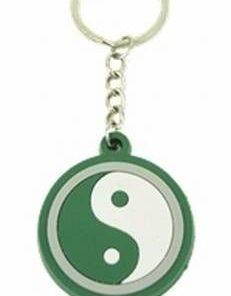Breloc Feng Shui cu Yin-Yang din silicon - verde
