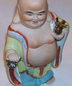 Buddha razand cu Pasarea Fericirii aurie - vintage