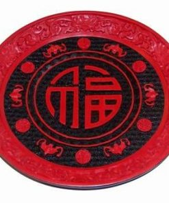 Farfurie decorativa cu ideograma banilor si lilieci