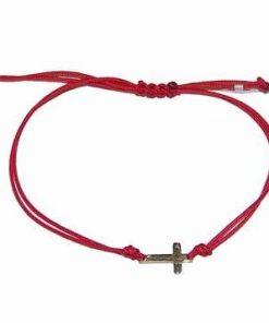 Bratara din snur rosu reglabil cu cruciulita din aur de 14k