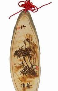 Tablou din lemn, gravat cu bambus si nod mistic rosu