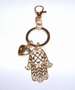 Breloc auriu cu Palma lui Fatima si inima