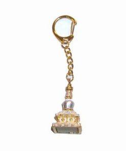 Breloc din metal auriu cu Stupa cu cele 8 usi ale abundentei