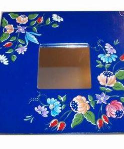 Oglinda Feng Shui cu flori de camp pictate - albastra