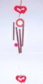 Clopotel de vant cu 4 turburi goale - Inimi