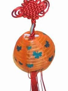 Minilampadar Feng Shui cu Nod Mistic si moneda - portocaliu