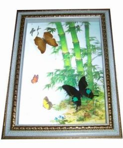 Tablou 3D cu bambus si fluturi