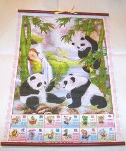 Stampa cu bambusi si familie de panda