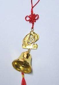 Clopotel Feng Shui auriu cu pereche de crapi