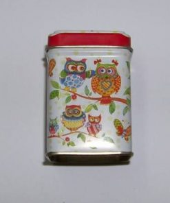 Cutiuta metalica de ceai cu bufnite