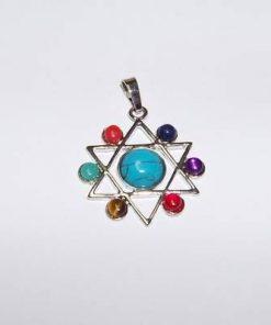 Hexagrama din metal nobil cu cristalele celor 7 chakre