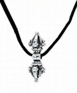Pandantiv Dorje argintiu pe siret negru din catifea