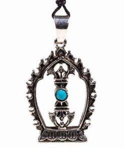 Pandantiv din metal nobil pe siret negru cerat - Dorje