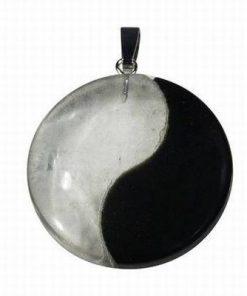 Pandantiv Yin-Yang din obsidian si cristal de stanca