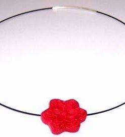 Colier Feng Shui cu floare de cires si argint